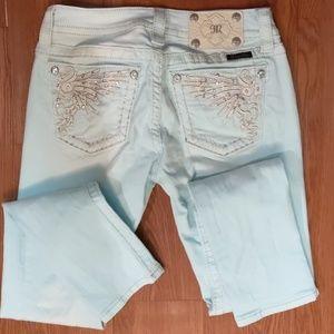 Miss Me Skinny Jeans, Seafoam, Like New
